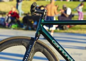 Amy Danger Icelandic green Cannondale fixed gear bike with Wound Up carbon fiber black Zephyr track fork