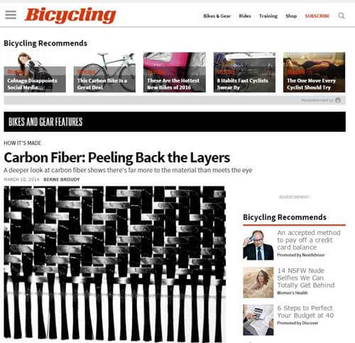 Carbon fiber used in bicycle and bike frame manufacturing