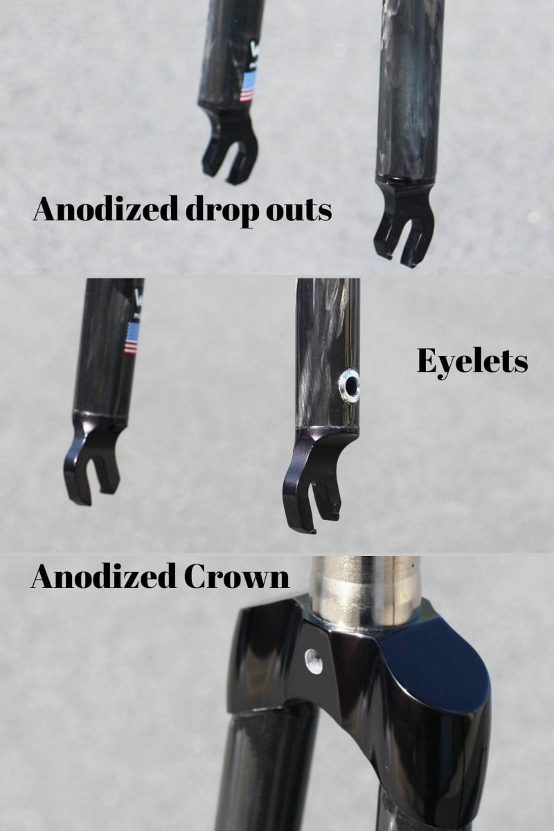 Black Anodized Crown and Dropouts, eyelets carbon bike fork